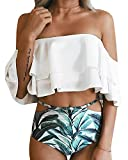 Dellytop Women Sexy High Waist Layer Ruffle Flounce Off Shoulder Bikini Swimsuit Bathing Suit