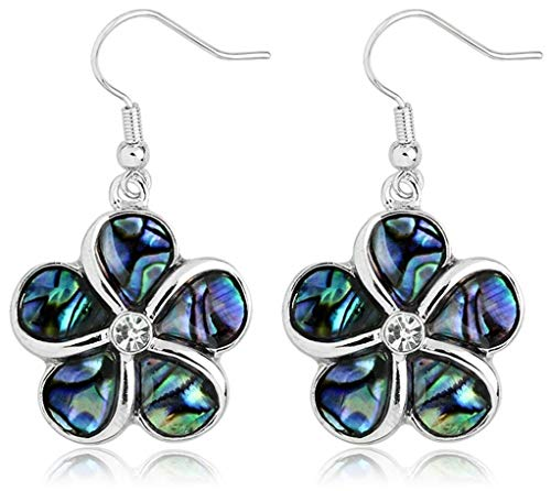 Abalone Shell Flower Charm Dangle Earrings Jewelry Gift for Women and Teen Girls ()