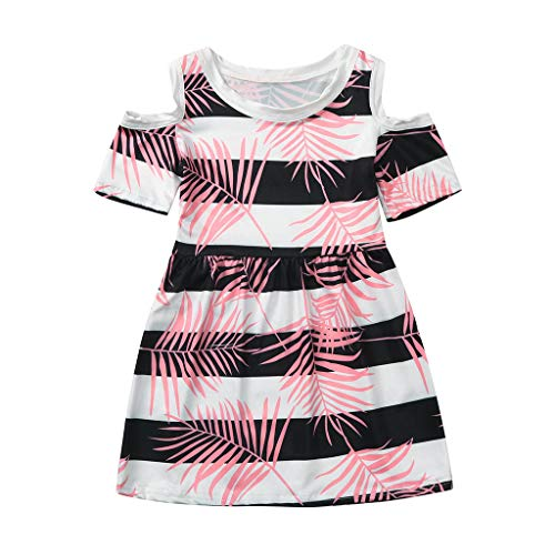 - ❤️ Mealeaf ❤️ Toddler Kids Baby Girl Princess Coral Tropical Stripe Floral Dress Outfits(Multicolor,100)