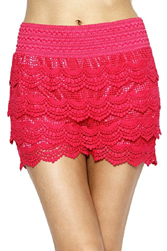Women's New Trendy Fitted Scallop Lace Crochet Layered Shorts