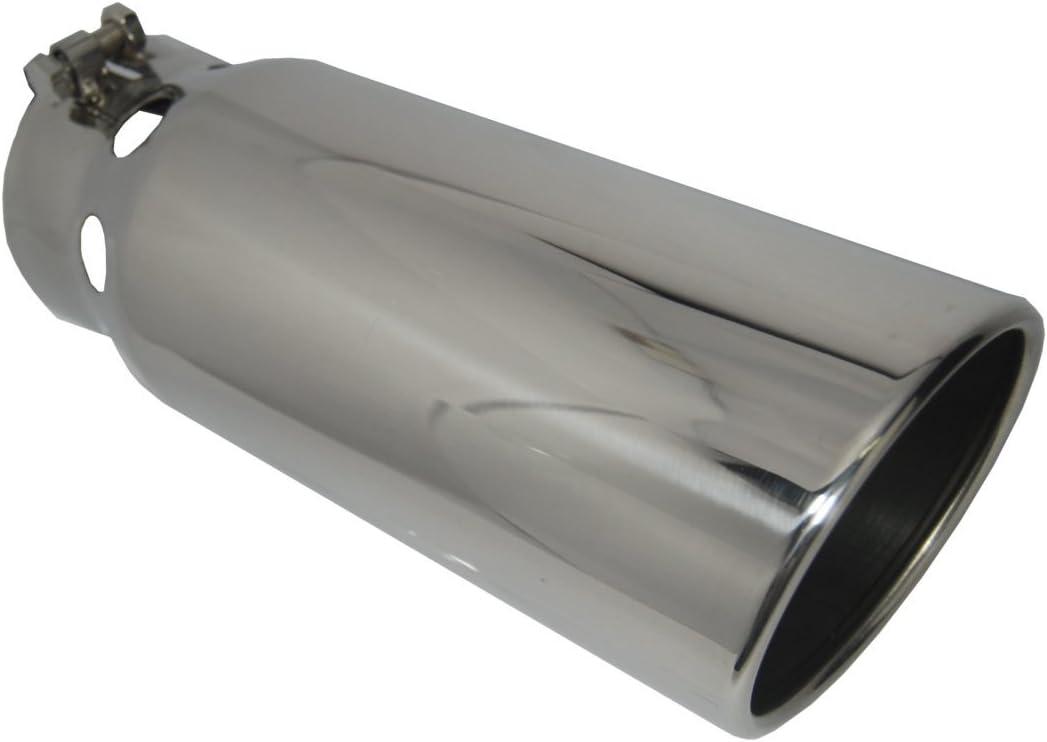 "Diesel Exhaust Tip 5.00/"" Dia X 12.00/"" Long 4.00/"" Inlet Bolt On Long Slant Stainl"