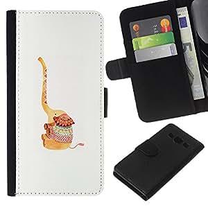 KLONGSHOP // Tirón de la caja Cartera de cuero con ranuras para tarjetas - Animal de la historieta Dibujo lindo - Samsung Galaxy A3 //