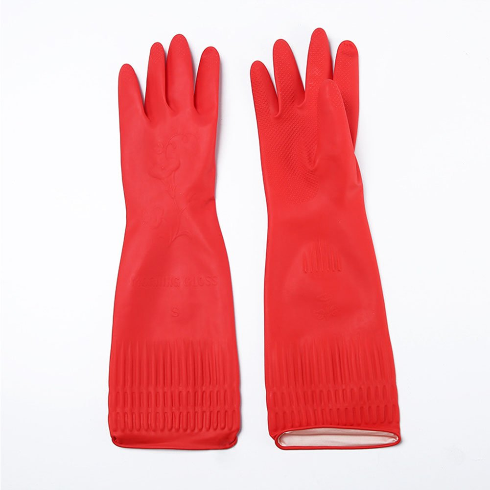 Zehui Kitchen Washing Gloves 38cm Long Waterproof Elastic Rubber Glove Dining Room Dish Cleaning Red 1 Pair L