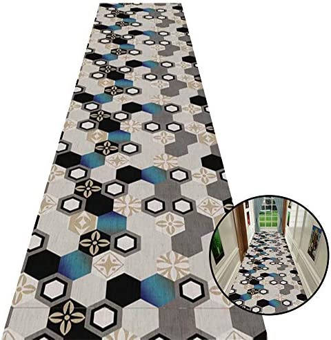 Modern Area Rug with Geometric Design, Grey Low Pile Carpet for Narrow Entrance, Non-Slip Washable, 60 80 100 120cm Wide Size 1.2 5m 47 196.9 in