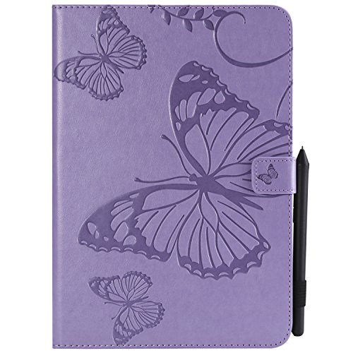 Shinyzone Tablet Leather Case for Samsung Galaxy Tab A 9.7 T550,Embossed Purple Butterfly Pattern with Credit Card Slots and Pencil Holder,Auto Sleep and Wake Function Magnetic Flip Stand Cover by ShinyZone