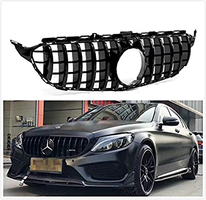 Usudu Gt R Style Grille W205 Amg Look C200 C250 C300 C350 2015 2018 Grill With Camera For Mercedes Benz W205 Glossy Black Amazon Ca Automotive