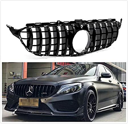 Glossy Black Usudu 256-250 GT R Style Grille W205 AMG Look C200 C250 C300 C350 2015-2018 Grill WithCamera For Mercedes Benz W205