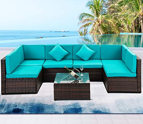 7 PCS Outdoor Rattan Wicker Furniture Set Garden Patio Sectional Sofa with Cushioned Seat and Glass Coffee Table for Poolside, Backyard, Deck or Patio (Green Cushion) (Furniture Garden Sets Rattan Sofa)