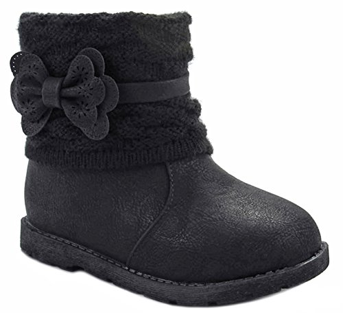 LuckyTop Baby Girls Canna2 Black Bow Tie Sweater Cuff Zip Mid Calf Toddler Infant Dress Boots-8