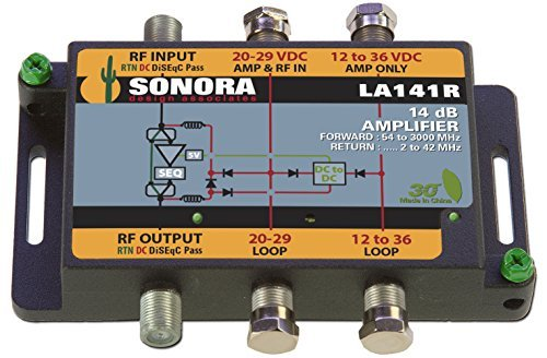 LA141R -T (1) Coax Input, 14 dB Gain Amplifier with 2-42 MHz Return, with power adaptor by Sonora Design