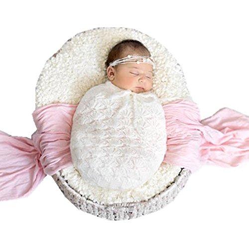 Fashion Newborn Boy Girl Baby Costume Knitted Photography Props Headdress Sleeping Bag (White) (Newborn Christmas Costume)