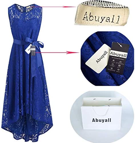 Abuyall Women Elegant Cocktail Hi Lo lace Dress Sleeveless Vintage Evening Party Occasion Dress