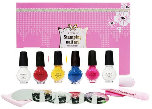 Konad Nail Art Starter Premium Vibrant French Manicure Set: 5 Image PLates M19, M45, M56, M77, M80 + Clear Top Coat + 5 Special Polishes Red, White, Yellow, Psyche Pink, Blue Pearl + 2 Way Stamper + Scraper + Image Plate Holder + Nail Corrector Pen Sponse