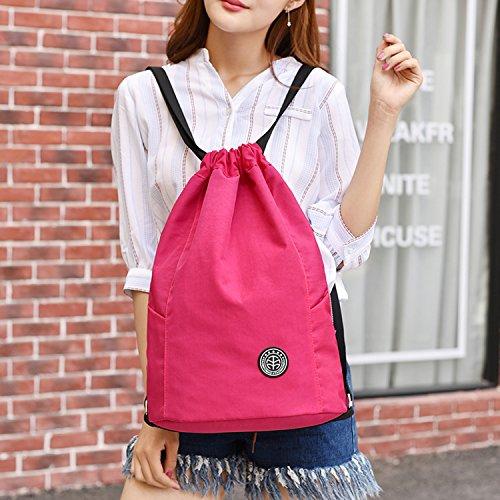 Outreo Reisetasche Kordelzug Rucksack Damen Backpack Leichter Schul Daypack Rucksäcke Wasserdicht Schultaschen Lässige Tasche Sport Rot 1
