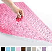 Gorilla Grip Original Bath, Shower, and Tub Mat (35x16), Antibacterial, BPA, Latex, Phthalate Free, XL Size, Machine Washable, Mats Materials (Rose)