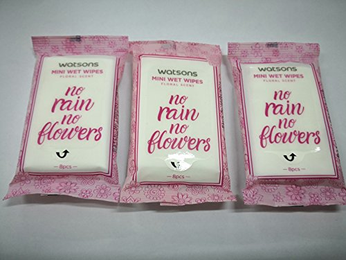 WATSONS Floral scent Mini Wet Wipes 8s X3 Pack Aloe Vera Vitamin E nourish skin