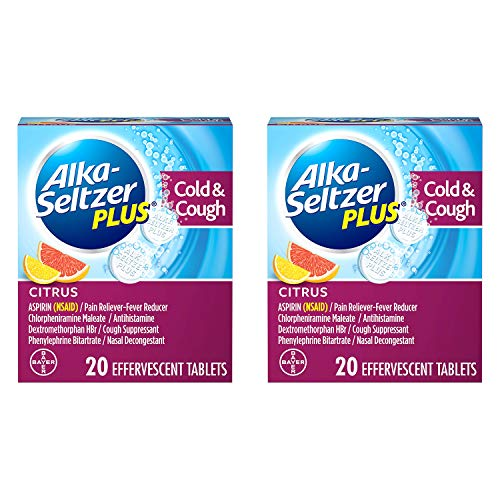 ALKA-SELTZER PLUS Cold & Cough Medicine, Citrus Effervescent Tablets with Pain Reliever/Fever Reducer, Citrus, 20 Count - 2 Pack