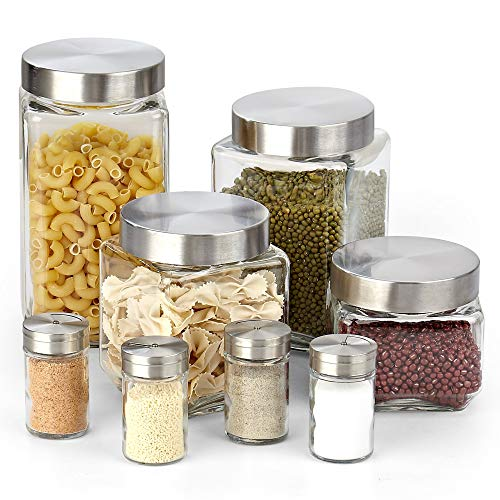 Cook N Home 02558 8-Piece Glass Canister and Spice Jar Set with Lids, 71 oz./2.1L, 60 oz./1.8L, 44 oz./1.3L, 30 oz./0.9L, Clear ()