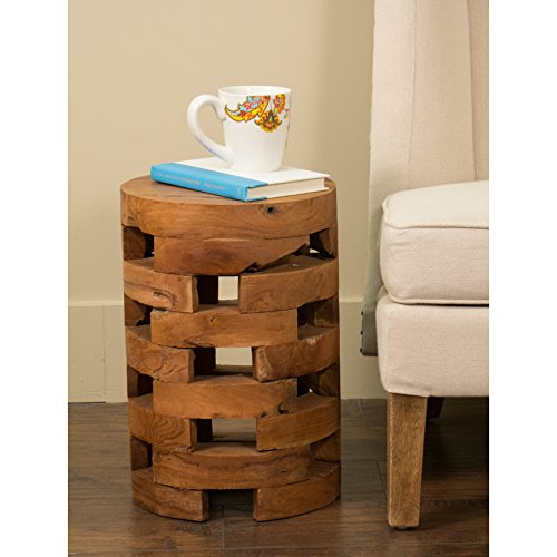 Machado Drum Design End Table for Living Room Made of Wood/Recycled Teakwood in Natural Finish 18'' H x 12'' W x 12'' D in. 18' Round End Table