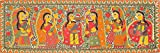 Lord Krishna Playing Flute For Gopis - Madhubani Painting on Hand Made Paper - Folk Painting
