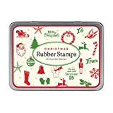 Cavallini Rubber Stamps Set Christmas Mini, 20 Assorted Wooden Rubber Stamps Packaged in A Tin