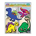 Deluxe Dinosaurs Flexible Gel Clings – Double XL Set 2 Full Sheets Reusable Window Clings for Kids - Incredible Gel Decals of a Jurassic World, T-Rex, Raptor, Brontosaurus, Tyrannosaurus, Stegosaurus
