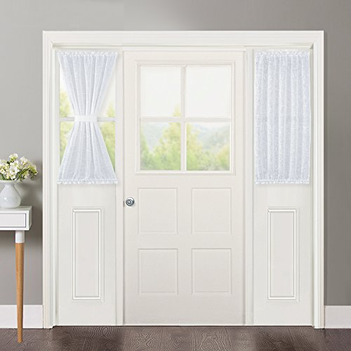 NICETOWN Linen Textured Door Curtain - White Sidelight Semi Sheer French Door Curtain for Front Door with Tieback, 30