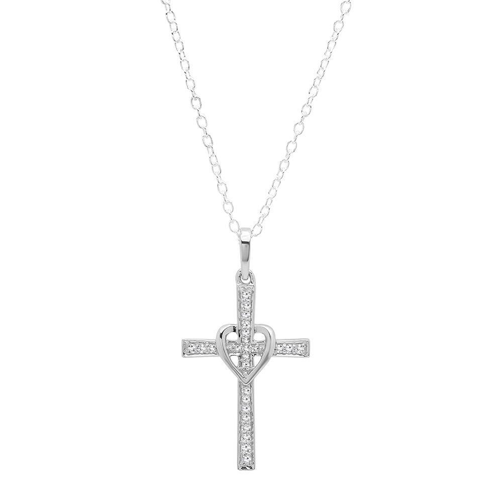 0.20 Carat (ctw) 10K White Gold Round Diamond Ladies Cross Pendant 1/5 CT (Silver Chain Included)