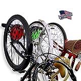 Koova Wall Mount Bike Storage Rack Garage Hanger for 3 Bicycles + Helmets | Fits All Bikes Even Large Cruisers/Big Tire Mountain Bikes | Heavy Duty Powder Coated Steel | Made in USA (3 Bike Rack)