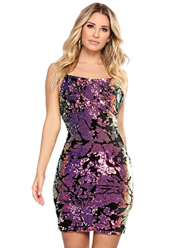 Purple Sequin Dress (LVKIRING Women's Sexy Strap Sequin Glitter Bodycon Stretchy Cocktail Party Club Mini Dress (Medium))