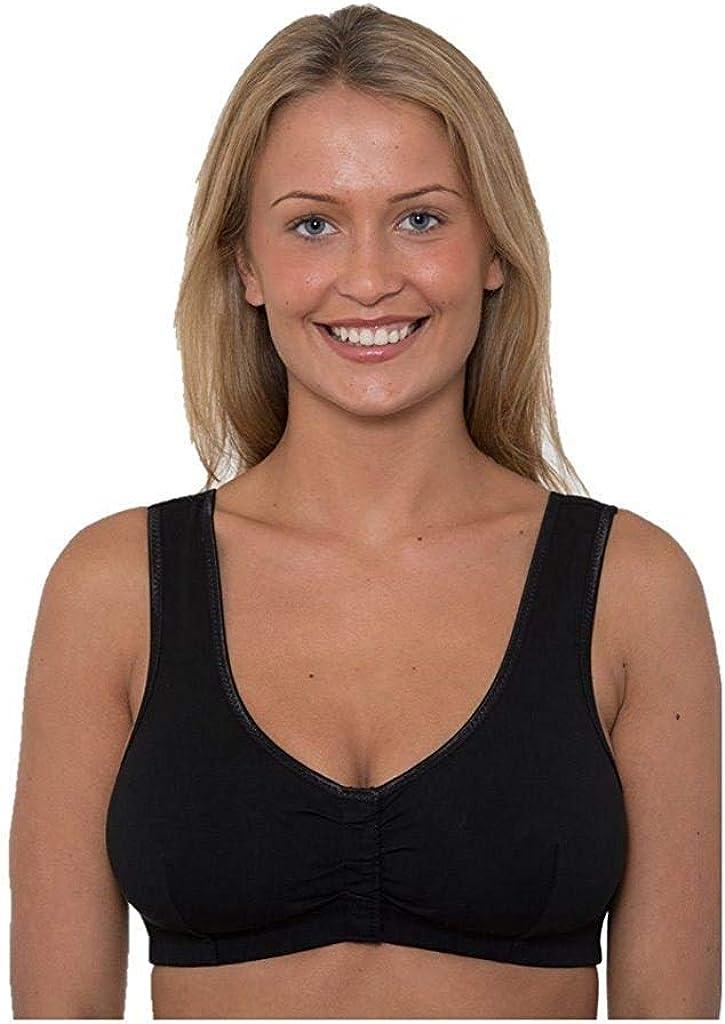 Womens Gemm Soft Cotton Non Wired Hook /& Eye Easy Fasten Front Fastening Bra