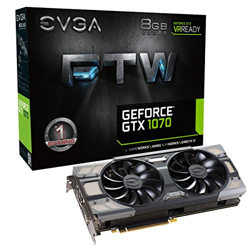 EVGA GeForce GTX 1070 DirectX 12 08G-P4-6276-KR 8GB 256-Bit GDDR5 PCI Express 3.0 HDCP Ready SLI Support FTW GAMING ACX 3.0 Video Card