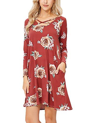 Damen Kleider Elegant Herbst Kleid Modisch Loose Minikleid Vintage ...