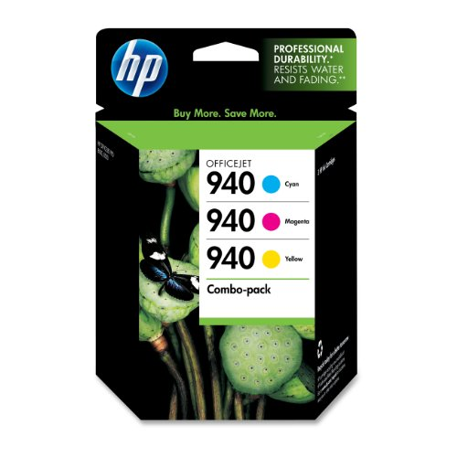940 Combo Pack - HP 940 Cyan, Magenta & Yellow Original Ink Cartridges, 3 Cartridges (C4903AN, C4904AN, C4905AN) for HP Officejet Pro 8000 8500