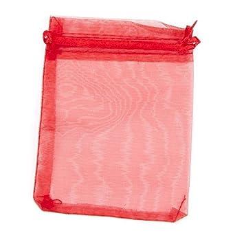 Bolsa de organza barata roja 17x12: Amazon.es: Hogar