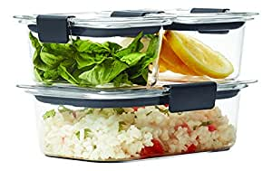 Rubbermaid Brilliance Food Storage Container, 6-Piece Set, 100% Leak-Proof, Plastic, Clear