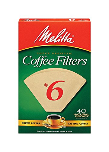 (Melitta No. 6 Unbleached Cone Coffee Filters, Natural Brown, 40 Count)