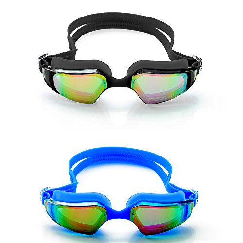 SLS3 Swim Goggles | Comfortable Mirrored Swimming Goggles with Anti-Fog Lenses | TRIATHLON | UV Protection | Free Protection Case for Adults Men Women | Ear Plugs (2-Pack (Black/Blue))