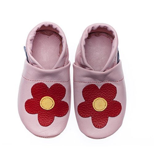 pantau Leder Krabbelschuhe Lederpuschen Babyschuhe Lauflernschuhe, mittige Blume, 100% Leder ROSA_ROT_GELB