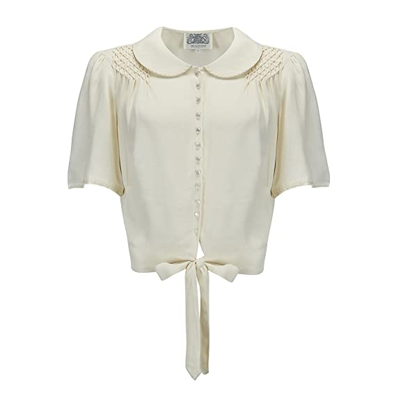 02008fd6df2d3e The Seamstress of Bloomsbury Helen Blouse with Cream RIC-Rac Authentic  1940 s Vintage Style (
