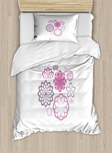 Ambesonne Dahlia Twin Size Duvet Cover Set, Hypotrochoid Style Flower Pattern of Chrysanthemum Dahlias and Lilies, Decorative 2 Piece Bedding Set with 1 Pillow Sham, Fuchsia and Dried Rose