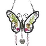 BANBERRY DESIGNS - 2416 - Grandma Butterfly Suncatcher with Pressed Flower Wings - 4.25INX4.25IN