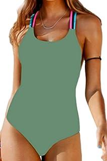 Oudan Costume da Bagno Donna Halter One Piece Monokini Strap Bathing Suit (Colore : Army Green, Dimensione : XL)