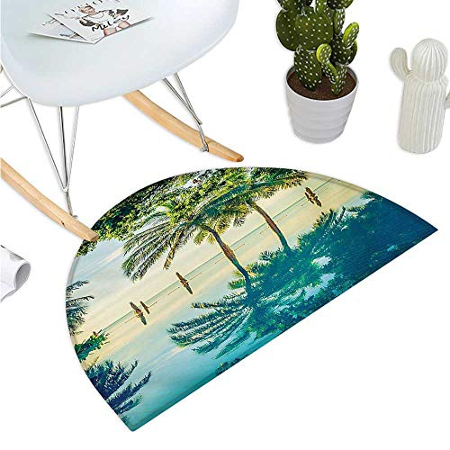 Landscape Half Round Door mats Pool with Trees on The Surface No Filter Region Hot Spot Climate on Earth Theme Entry Door Mat H 43.3