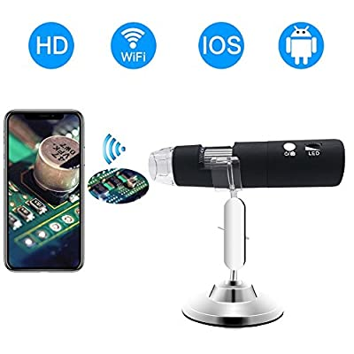 WiFi Digital Microscope,Skybasic HD 2MP 50x to 1000x Magnification Endoscope Handheld 8 LED with Metal Stand for IOS and Android Smartphone, iPhone, Samsung, Tablet