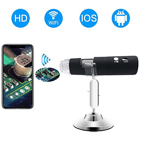 WiFi Digital Microscope,Skybasic HD 2MP 50x to 1000x Magnification Endoscope Handheld 8 LED with Metal Stand for IOS and Android Smartphone, iPhone, Samsung, Tablet, Windows Mac PC by Skybasic