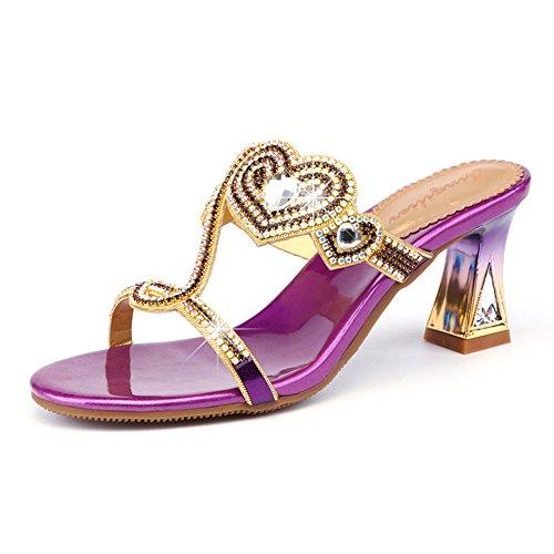 LIXIONG Zapatillas mujer verano moda tacón grueso Rhinestone medio tacón zapato, Altura del talón 6.5 cm, 3 colores -Zapatos de moda (Color : Purple, Tamaño : EU35/UK3.5/CN35/225) Purple