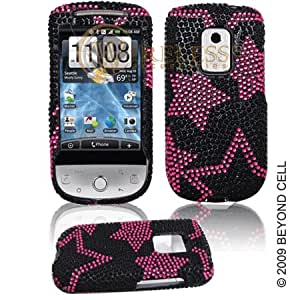 HTC Hero CDMA Cell Phone Full Crystal Diamonds Bling Protective Case Cover Black with Hot Pink Stars Design