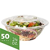24 oz. Plastic Salad Bowls To-Go With Airtight Lids [50 Sets] Clear Disposable Salad Containers
