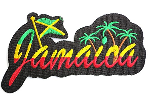 JAMAICA Flag Logo Reggae Rasta Iron On Embroidered Patch Approx: 4.8